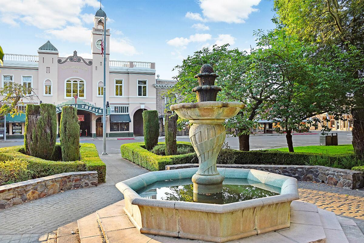 Historic Sebastiani Theater with fountain