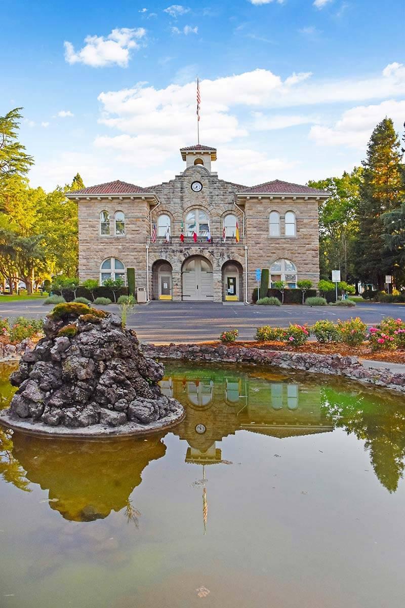Historic Sonoma Plaza and duck pond