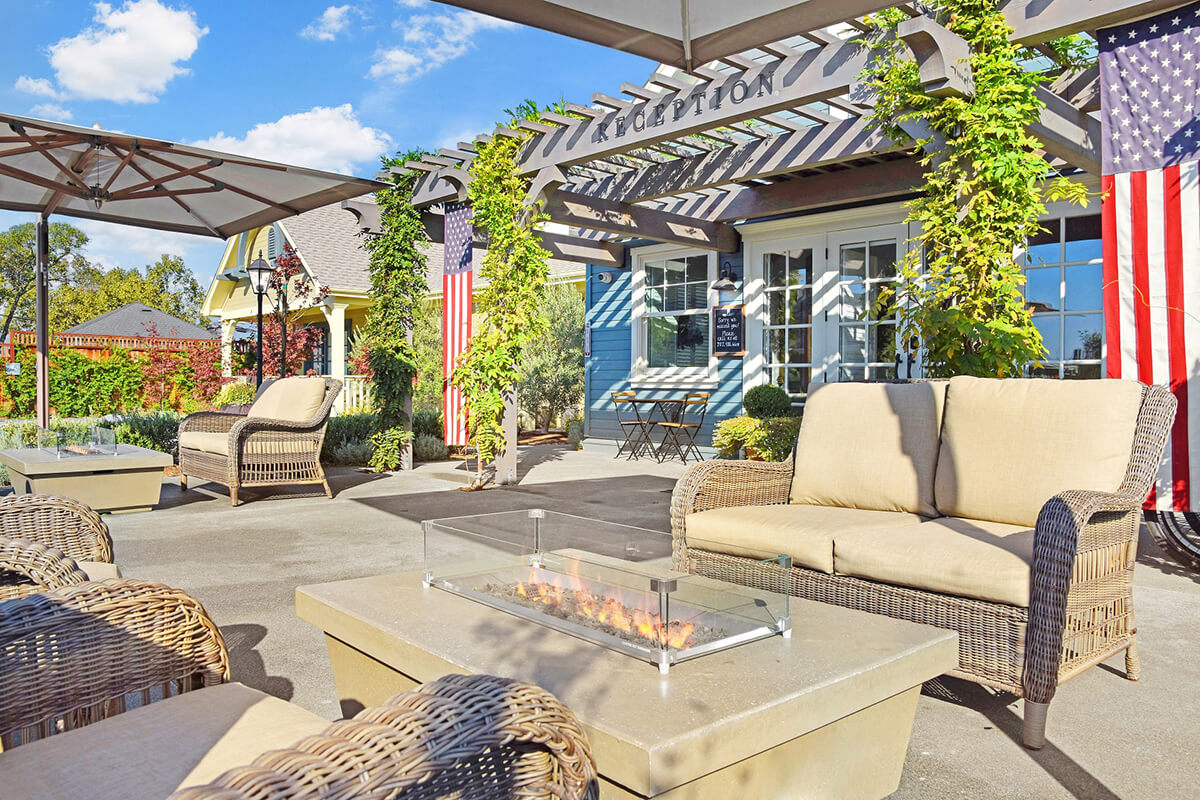 Outdoor fire pits in front of Sonoma Bungalows