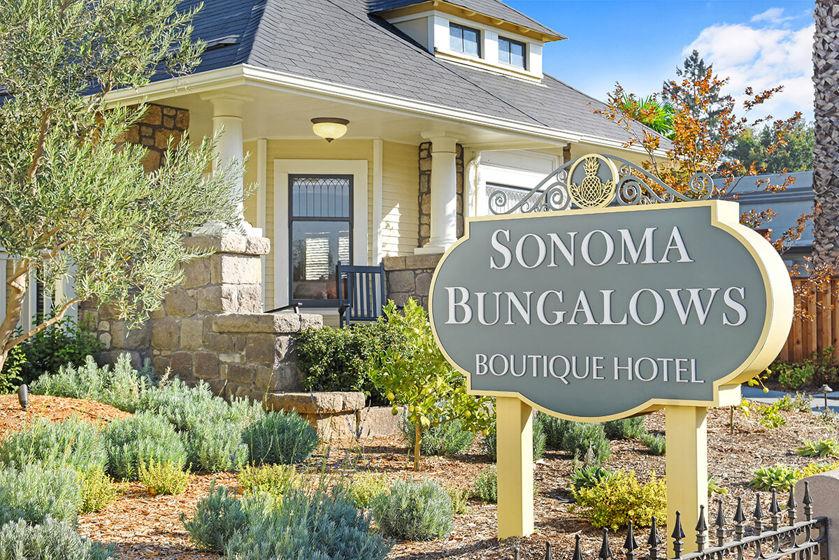 Sonoma Bungalows sign and front yard